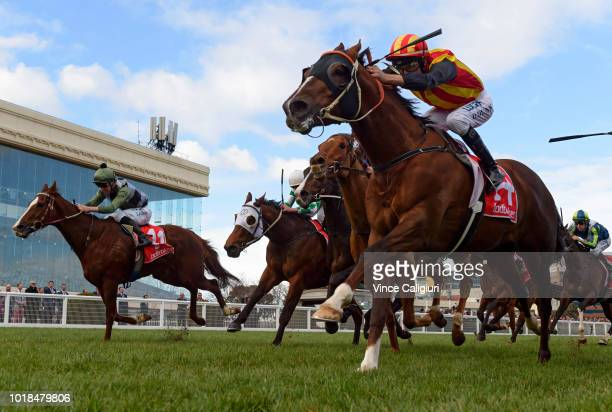 Luke Nolen riding Tony Nicconi winning Race 5 Vain Stakes during PBLawrence Stakes Day at Caulfield on August 18 2018 in Melbourne Australia
