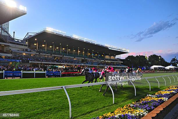 Dwayne Dunn riding Slate On Edge wins Race 2 during Manikato Stakes Night at Moonee Valley Racecourse on October 24 2014 in Melbourne Australia