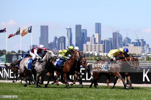 Dwayne Dunn riding Sylvia's Mother wins Race 4 the Furphy Ale Frances Tressady Stakes from second placed Ben Thompson riding Mamzelle Tess and third...