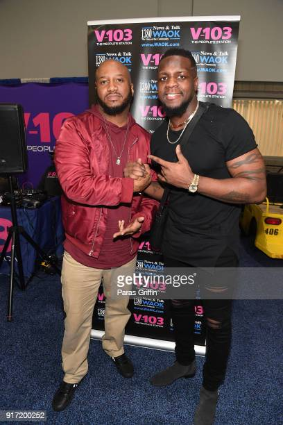 Dwayne 'Emperor' Searcy and NFL Player Mohamed Sanu Sr attend 2018 Bronner Brothers International Beauty Show at Georgia World Congress Center on...