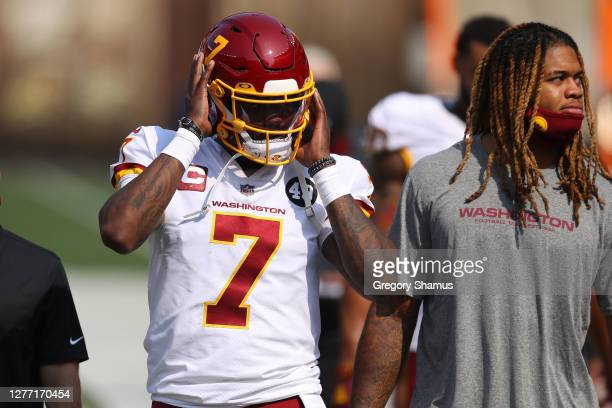 Dwayne Haskins and Chase Young of the Washington Football Team prior to playing the Cleveland Browns at FirstEnergy Stadium on September 27 2020 in...
