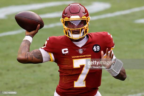 Dwayne Haskins Jr. #7 of the Washington Football Team attempts a pass against the Seattle Seahawks at FedExField on December 20, 2020 in Landover,...