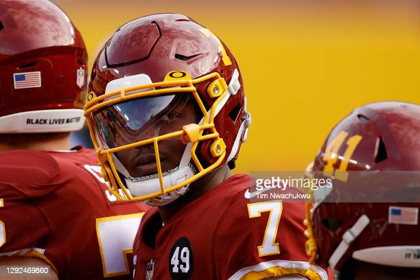 Dwayne Haskins Jr. #7 of the Washington Football Team looks on against the Seattle Seahawks at FedExField on December 20, 2020 in Landover, Maryland.