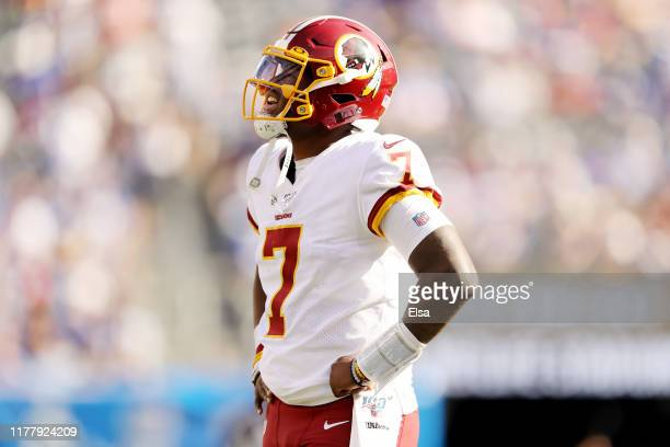 Dwayne Haskins Jr #7 of the Washington Redskins walks on the field in the fourth quarter against the New York Giants at MetLife Stadium on September...