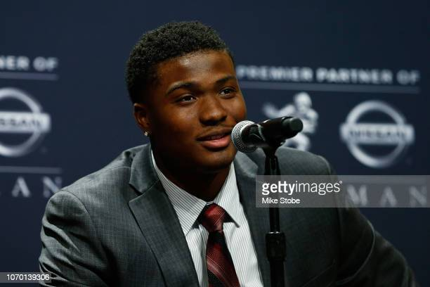 Dwayne Haskins of Ohio State speaks at the press conference for the 2018 Heisman Trophy Presentationon December 8 2018 in New York City