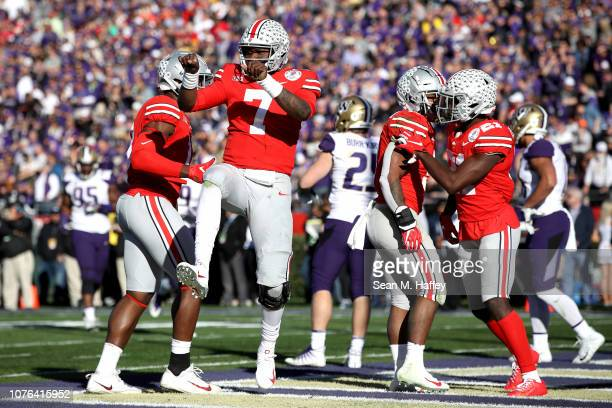 Dwayne Haskins of the Ohio State Buckeyes celebrates after a 12yard touchdown during the first half in the Rose Bowl Game presented by Northwestern...