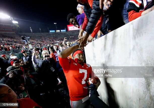Dwayne Haskins of the Ohio State Buckeyes celebrates after winning in the Rose Bowl Game presented by Northwestern Mutual at the Rose Bowl on January...