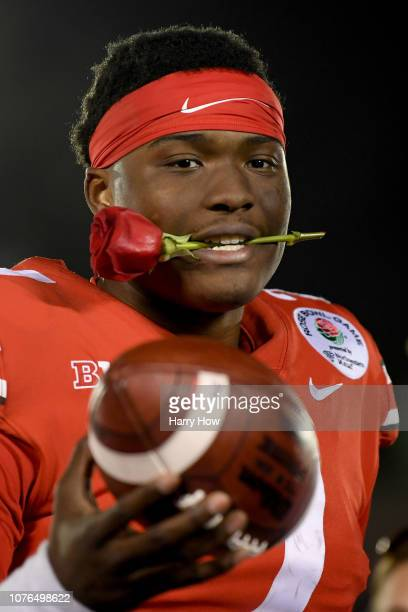Dwayne Haskins of the Ohio State Buckeyes celebrates after winning the Rose Bowl Game presented by Northwestern Mutual at the Rose Bowl on January 1...