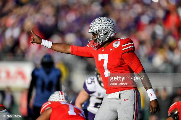 Dwayne Haskins of the Ohio State Buckeyes changes to play at the line of scrimmage during the Rose Bowl Game Presented by Northwestern Mutual between...