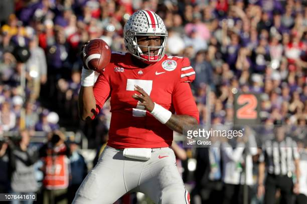 Dwayne Haskins of the Ohio State Buckeyes looks to make a pass during the first half in the Rose Bowl Game presented by Northwestern Mutual at the...