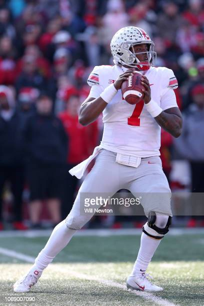 Dwayne Haskins of the Ohio State Buckeyes looks to pass against the Maryland Terrapins during the first half at Capital One Field on November 17 2018...