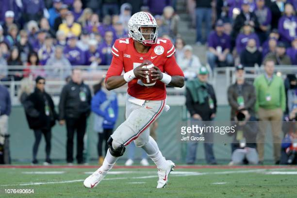 Dwayne Haskins of the Ohio State Buckeyes looks to pass during the second half in the Rose Bowl Game presented by Northwestern Mutual at the Rose...