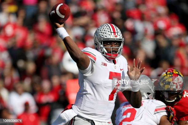 Dwayne Haskins of the Ohio State Buckeyes passes against the Maryland Terrapins during the first half at Capital One Field on November 17 2018 in...