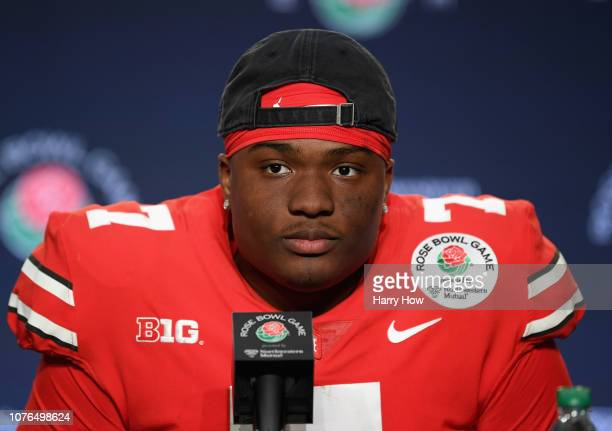 Dwayne Haskins of the Ohio State Buckeyes speaks to the media after winning the Rose Bowl Game presented by Northwestern Mutual at the Rose Bowl on...