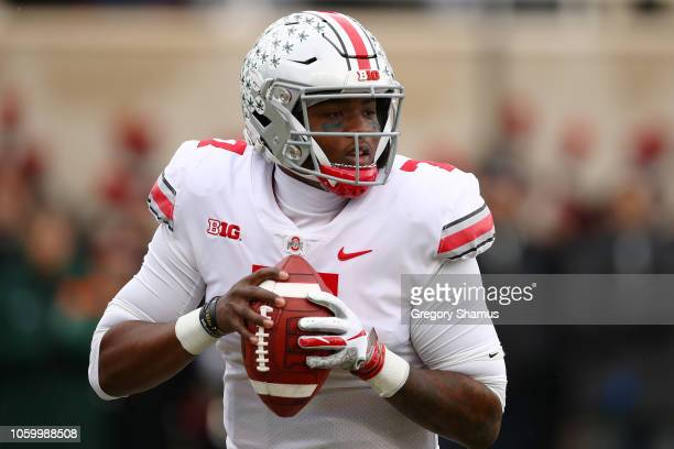 Dwayne Haskins of the Ohio State Buckeyes throws a first half pass while playing the Michigan State Spartans at Spartan Stadium on November 10 2018...
