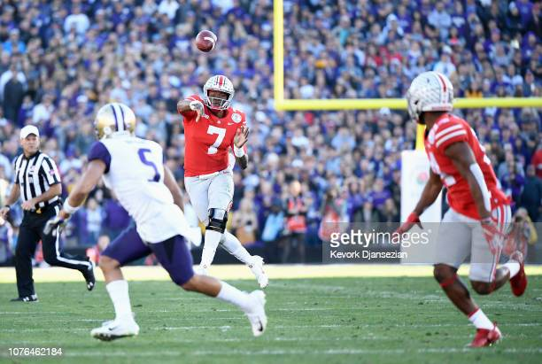 Dwayne Haskins of the Ohio State Buckeyes throws a pass during the first half in the Rose Bowl Game presented by Northwestern Mutual at the Rose Bowl...