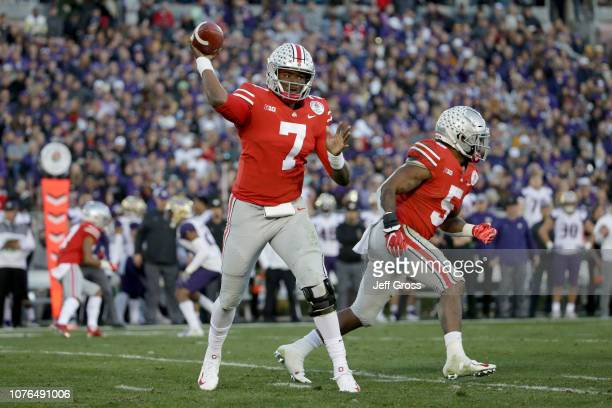 Dwayne Haskins of the Ohio State Buckeyes throws a pass during the second half in the Rose Bowl Game presented by Northwestern Mutual at the Rose...