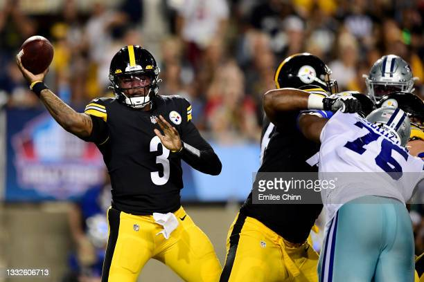 Dwayne Haskins of the Pittsburgh Steelers makes a pass in the second half during the 2021 NFL preseason Hall of Fame Game against the Dallas Cowboys...