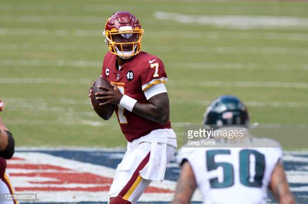 Dwayne Haskins of the Washington Football Team drops back to pass in the scond quarter against the Philadelphia Eagles at FedExField on September 13...