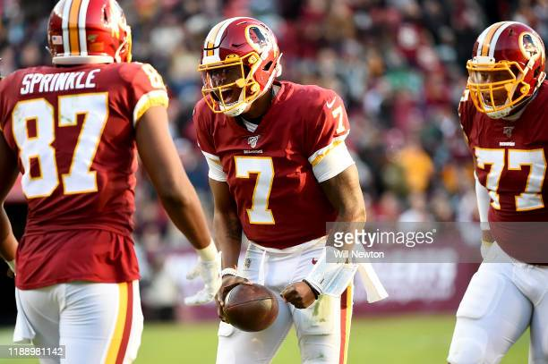 Dwayne Haskins of the Washington Redskins celebrates after a run against the Philadelphia Eagles during the second half at FedExField on December 15...