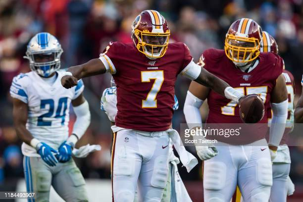 Dwayne Haskins of the Washington Redskins celebrates after running for a first down against the Detroit Lions during the second half at FedExField on...