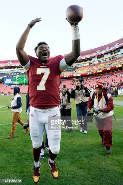 Dwayne Haskins of the Washington Redskins celebrates after the Redskins defeated the Detroit Lions 1916 at FedExField on November 24 2019 in Landover...