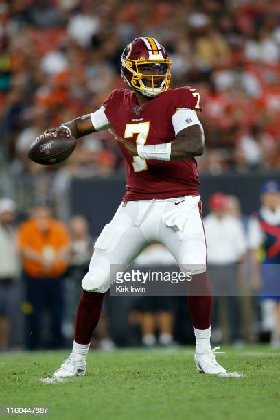 Dwayne Haskins of the Washington Redskins drops back to pass the ball during the second quarter of the game against the Cleveland Browns at...