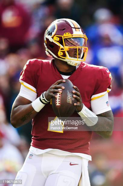 Dwayne Haskins of the Washington Redskins drops back to throw a pass in the first quarter against the New York Giants at FedExField on December 22...