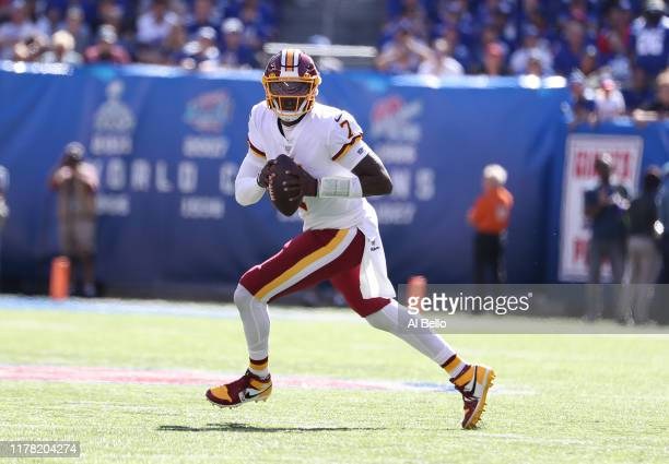 Dwayne Haskins of the Washington Redskins in action against the New York Giants during their game at MetLife Stadium on September 29 2019 in East...