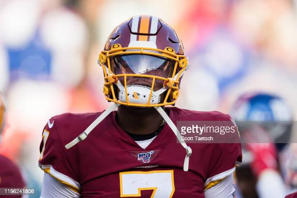 Dwayne Haskins of the Washington Redskins looks on after being injured during the second half of the game against the New York Giants at FedExField...