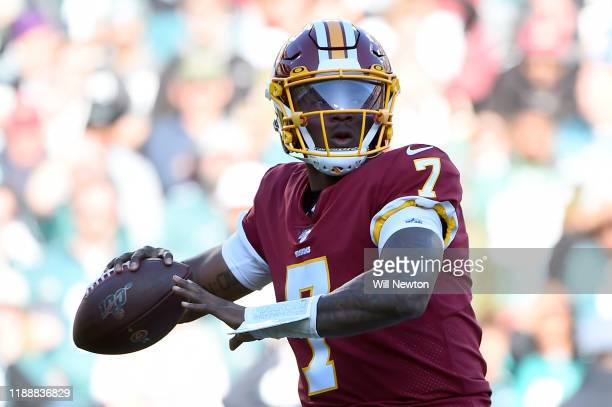 Dwayne Haskins of the Washington Redskins looks to pass against the Philadelphia Eagles during the first half at FedExField on December 15 2019 in...
