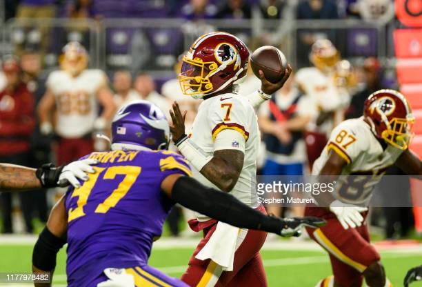 Dwayne Haskins of the Washington Redskins passes the ball in the third quarter of the game against the Minnesota Vikings at US Bank Stadium on...