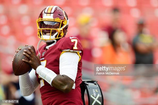Dwayne Haskins of the Washington Redskins throws a pass before a preseason game against the Cincinnati Bengals at FedExField on August 15 2019 in...
