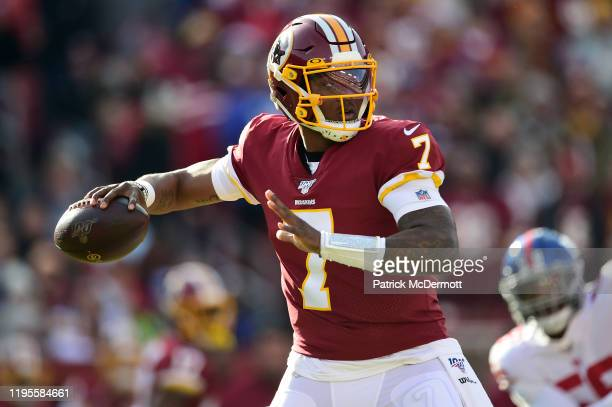 Dwayne Haskins of the Washington Redskins throws a pass in the first quarter against the New York Giants at FedExField on December 22 2019 in...