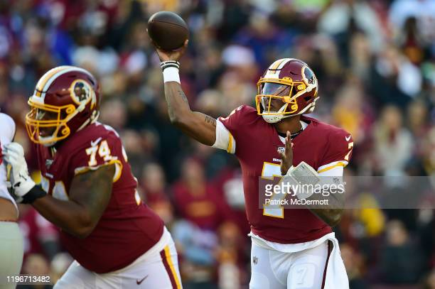 Dwayne Haskins of the Washington Redskins throws a pass in the first half against the New York Giants at FedExField on December 22 2019 in Landover...