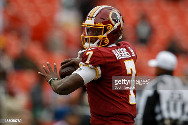 Dwayne Haskins of the Washington Redskins throws the ball before the game against the New York Jets at FedExField on November 17 2019 in Landover...