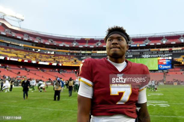Dwayne Haskins of the Washington Redskins walks off the field after the game against the New York Jets at FedExField on November 17 2019 in Landover...