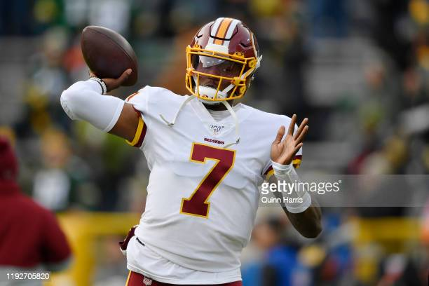 Dwayne Haskins of the Washington Redskins warms up before the game against the Green Bay Packers at Lambeau Field on December 08 2019 in Green Bay...