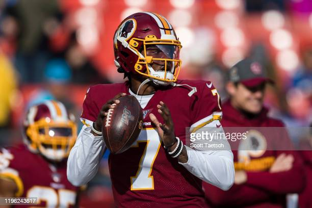 Dwayne Haskins of the Washington Redskins warms up before the game against the New York Giants at FedExField on December 22 2019 in Landover Maryland