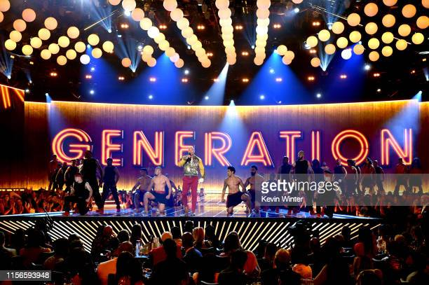 Dwayne Johnson accepts the MTV Generation Award onstage during the 2019 MTV Movie and TV Awards at Barker Hangar on June 15, 2019 in Santa Monica,...