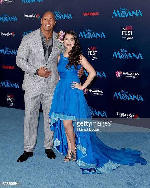 Dwayne Johnson and Auli'i Cravalho attend the premiere of Disney's 'Moana' at AFI FEST 2016 at the El Capitan Theatre on November 14 2016 in...