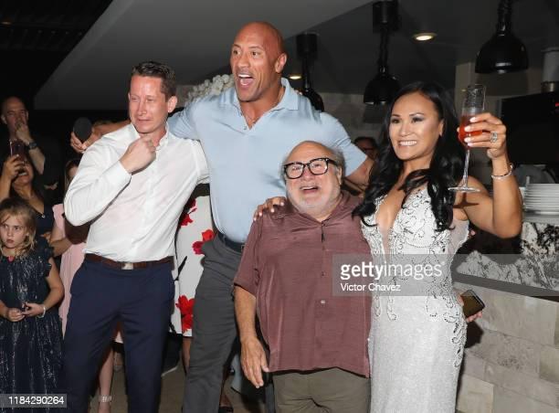 "Dwayne Johnson and Danny DeVito of ""Jumanji: The Next Level"" crash a wedding reception November 23, 2019 in Cabo San Lucas, Mexico."