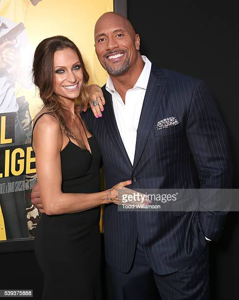 "Dwayne Johnson and girlfriend Lauren Hashian attend the premiere Of Warner Bros. Pictures' ""Central Intelligence"" at Westwood Village Theatre on June..."