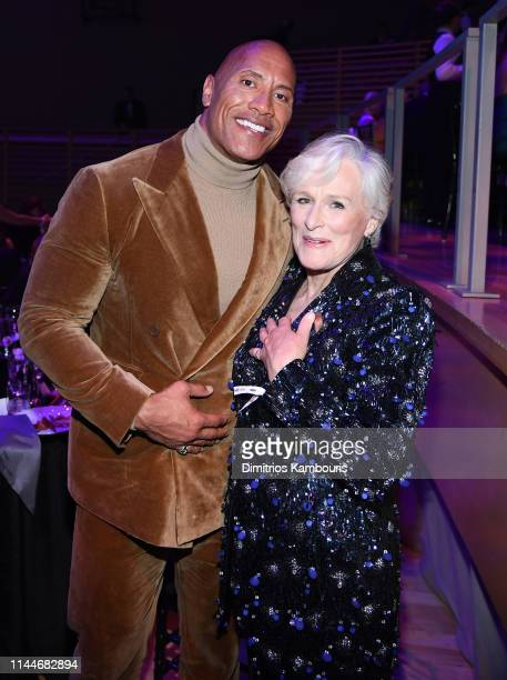 Dwayne Johnson and Glenn Close attends the TIME 100 Gala 2019 Dinner at Jazz at Lincoln Center on April 23 2019 in New York City