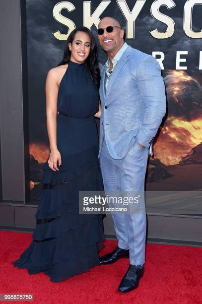 Dwayne Johnson and his daughter Simone Garcia Johnson attend the 'Skyscraper' New York Premiere at AMC Loews Lincoln Square on July 10 2018 in New...