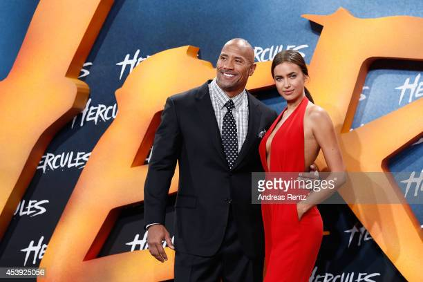 Dwayne Johnson and Irina Shayk attend the Europe premiere of Paramount Pictures 'Hercules' at CineStar on August 21 2014 in Berlin Germany