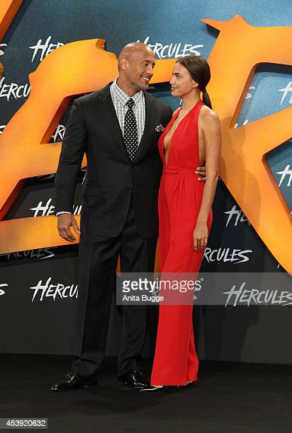 Dwayne Johnson and Irina Shayk attend the Europe premiere of the film 'Hercules' at CineStar on August 21, 2014 in Berlin, Germany.