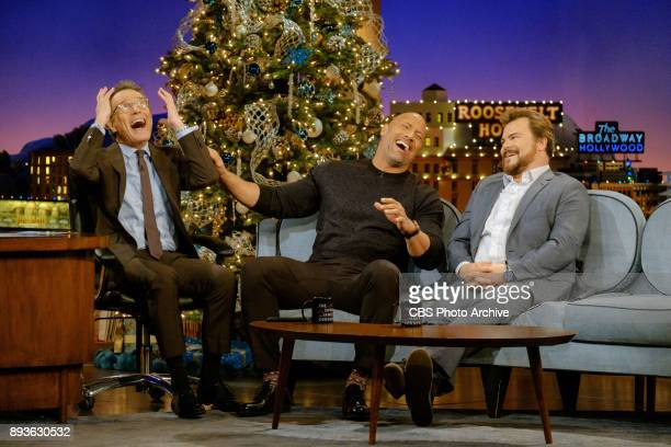 Dwayne Johnson and Jack Black chat with guest host Bryan Cranston during The Late Late Show with James Corden Wednesday December 13 2017 On The CBS...