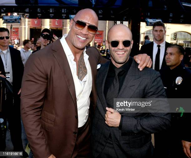 Dwayne Johnson and Jason Statham arrive at the premiere of Universal Pictures' Fast Furious Presents Hobbs Shaw at Dolby Theatre on July 13 2019 in...