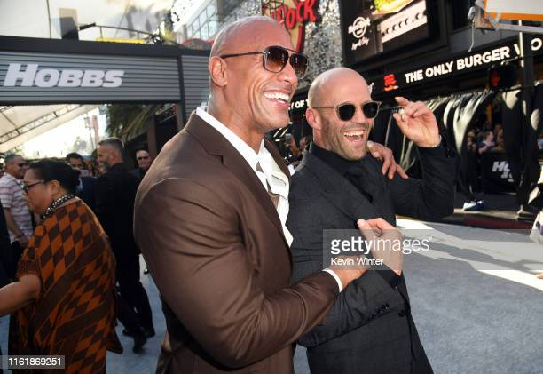 Dwayne Johnson and Jason Statham arrives at the premiere of Universal Pictures' Fast Furious Presents Hobbs Shaw at Dolby Theatre on July 13 2019 in...